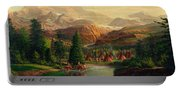 Indian Village Trapper Western Mountain Landscape Oil Painting - Native Americans -square Format Portable Battery Charger