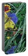 Butterfly And Wildflowers Spring Floral Garden Floral In Green And Yellow - Square Format Image Portable Battery Charger