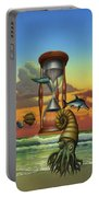 Prehistoric Animals - Beginning Of Time Beach Sunrise - Hourglass - Sea Creatures Square Format Portable Battery Charger