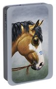 Buckskin Native American War Horse Portable Battery Charger by Crista Forest