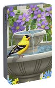 Fountain Festivities - Birds And Birdbath Painting Portable Battery Charger