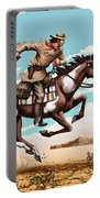 Pony Express Rider Historical Americana Painting Desert Scene Portable Battery Charger