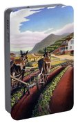 Appalachian Folk Art Summer Farmer Cultivating Peas Farm Farming Landscape Appalachia Americana Portable Battery Charger