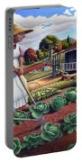 Family Vegetable Garden Farm Landscape - Gardening - Childhood Memories - Flashback - Homestead Portable Battery Charger