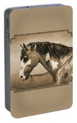 Buckskin War Horse In Sepia Portable Battery Charger