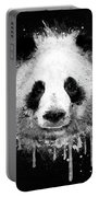 Cool Abstract Graffiti Watercolor Panda Portrait In Black And White  Portable Battery Charger