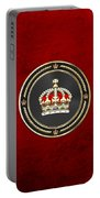 Imperial Tudor Crown Over Red Velvet Portable Battery Charger
