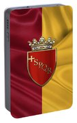 Coat Of Arms Of Rome Over Flag Of Rome Portable Battery Charger