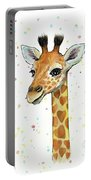 Baby Giraffe Watercolor With Heart Shaped Spots Portable Battery Charger