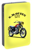 The Steve Mcqueen Isdt Motorcycle 1964 Portable Battery Charger