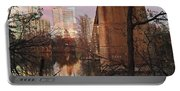 Austin Hike And Bike Trail - Train Trestle 1 Sunset Triptych Middle Portable Battery Charger