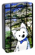 Westie At Dogwood Window Portable Battery Charger