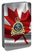Royal Canadian Navy  -  R C N  Badge Over Canadian Flag Portable Battery Charger