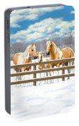 Palomino Paint Horses In Snow Portable Battery Charger