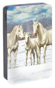 White Horses In Winter Pasture Portable Battery Charger
