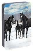 Black Horses In Winter Pasture Portable Battery Charger