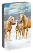 Palomino Horses In Winter Pasture Portable Battery Charger