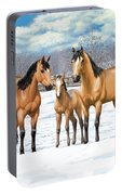 Buckskin Horses In Winter Pasture Portable Battery Charger
