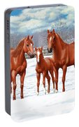 Chestnut Horses In Winter Pasture Portable Battery Charger