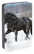 Black Friesian Horse In Snow Portable Battery Charger
