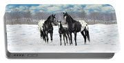 Black Appaloosa Horses In Winter Pasture Portable Battery Charger