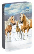 Palomino Paint Horses In Winter Pasture Portable Battery Charger
