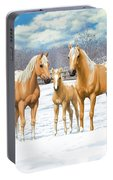 Palomino Appaloosa Horses In Winter Portable Battery Charger