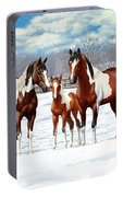 Bay Paint Horses In Winter Portable Battery Charger
