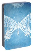 Bohemian Ornamental Butterfly Deep Blue Ombre Illustratration Portable Battery Charger