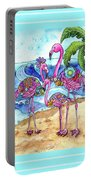 The Flamingo Family's Day At The Beach Portable Battery Charger
