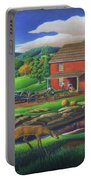 Old Red Appalachian Grist Mill Rural Landscape - Square Format  Portable Battery Charger