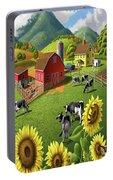 Sunflowers Cows Appalachian Farm Landscape - Rural Americana - Farm Animals - 1950 Farm Life - Barn Portable Battery Charger