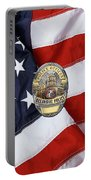 Oceanside Police Department - Opd Officer Badge Over American Flag Portable Battery Charger
