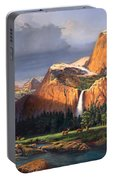Deer Meadow Mountains Western Stream Deer Waterfall Landscape Oil Painting Stormy Sky Snow Scene Portable Battery Charger by Walt Curlee