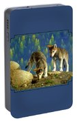 Wolf Pups - Anybody Home Portable Battery Charger by Crista Forest