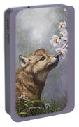 Wolf Pup - Baby Blossoms Portable Battery Charger by Crista Forest