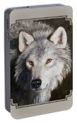 Wolf Portrait Portable Battery Charger by Crista Forest