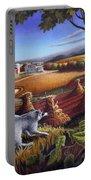 Rural Country Farm Life Landscape Folk Art Raccoon Squirrel Rustic Americana Scene  Portable Battery Charger