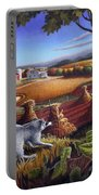 Rural Country Farm Life Landscape Folk Art Raccoon Squirrel Rustic Americana Scene  Portable Battery Charger