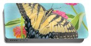 Swallowtail Butterfly And Zinnias Portable Battery Charger