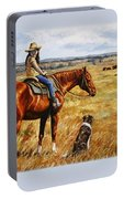 Horse Painting - Waiting For Dad Portable Battery Charger by Crista Forest