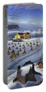 Folk Art Winter Landscape Portable Battery Charger