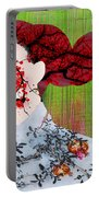 Asian Flower Woman Red Portable Battery Charger