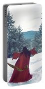 Asian Woman In Red Kimono Dancing On The Snow In The Forest Portable Battery Charger