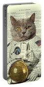 Astronaut Cat Illustration Portable Battery Charger