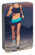 Athletic Woman Jogging Outdoors Portable Battery Charger