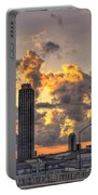 Atlanta Sunrise On Atlantic Station Commons And Midtown Atlanta Portable Battery Charger by Reid Callaway