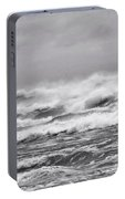 Atlantic Storm In Black And White Portable Battery Charger