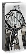 Atlas Sculpture Sketch In New York City Portable Battery Charger