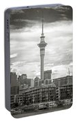 Auckland New Zealand Sky Tower Bw Texture Portable Battery Charger